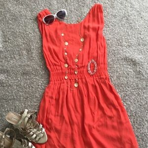 Stylish coral dress by Minkpink